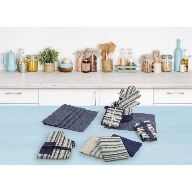 Dvostruka kuhinjska rukavica izrađena je od pamučne tkanine i visoko kvalitetnog punjenja od mikrovlakana. Visokokvalitetni sastav obezbeđuje otpornost na toplotu do 200 °C. Rukavica je odličan dodatak koji štiti ruke i zglobove od vruće posude. Veća i duža rukavica je izuzetno praktična, jer se istovremeno može staviti na obe ruke za držanje većih posuda. Posebno je pogodan za nošenje pleha, kako biste ga lako preneli na željeno mesto. Moderan dizajn će doprineti izgledu lepo uređene kuhinje. Kuhinjska rukavica se može oprati na 40 °C.