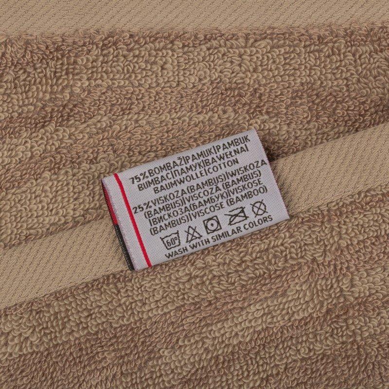 Peškiri su izrađeni od visoko upijajućeg pamuka i bambusovih vlakana. Bambus vlakna imaju još veću moć upijanja i stoga se brže suše. Tkanina u reljefnoj strukturi. Dimenzije: 50 x 100 cm i 70 x 140 cm. Braon boja.