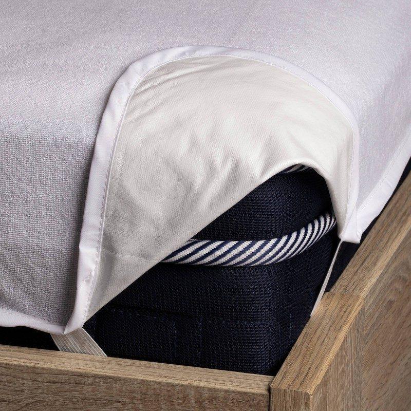 Vodonepropusna zaštita za dušek Baby Protect, pruža efikasnu zaštitu od mrlja, tako da je dečiji dušek čistiji i duži mu je vek trajanja. Iako je zaštita vodonepropusna, propušta vodenu paru i vazduh. Tkanina je prozračna, tako da se vlaga neće nakupljati u vašem dušeku. Zaštita pruža svežu površinu za spavanje i osigurava suvo okruženje. Ima izdržljive elastične trake na ivicama, što nameštanje čini brzim i jednostavnim. Zaštita se u potpunosti može oprati na 60 °C.