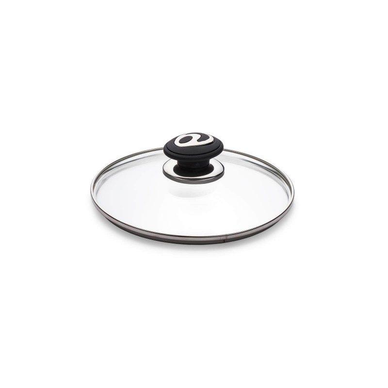 Poklopac Rosmarino Black Lava Stone 20 cm izrađen je od visokokvalitetnog i izdržljivog stakla. Omogućava pogled u unutrašnjost posude u svakom trenutku i sa otvorom za odovod viška pare, lako se može sprečiti kipenje. Ergonomski dizajnirana ručka SoftTouch, otporna je na toplotu i ne zagreva se, čineći upotrebu lakšom i sigurnijom. Poklopac odgovara svim posudama i primeren je za mašinu za pranje sudova.