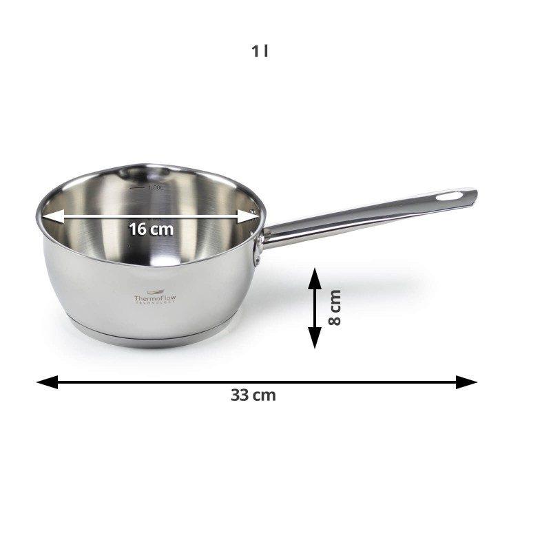 Čelična kaserola Pour&Cook prečnika 24 cm i zapremine 3 l, odlikuje neuništiv, nerđajući čelik 18/10 i 3-slojno dno, koje omogućava brzo, ravnomerno zagrevanje i kraće vreme kuvanja. Tehnologija ThermoFlow omogućava odličnu distribuciju toplote po celoj površini posude i na taj način obezbeđuje ravnomerno kuvanje. Za jednostavnije kuvanje, u unutrašnjosti posude se nalazi merna skala, a na obe strane poklopca postoje otvori za isparavanje vode i zaobljene ivice, što omogućava prosipanje viška tečnosti bez podizanja poklopca. Pogodna za sve površine za kuvanje, uključujući indukcionu. Lako se čisti i može se oprati i u mašini za pranje sudova.