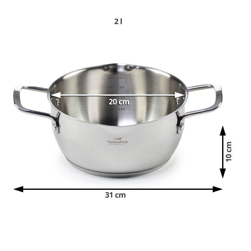 Čelična šerpa Pour&Cook prečnika 20 cm i zapremine 2 l, odlikuje neuništiv, nerđajući čelik 18/10 i 3-slojno dno, koje omogućava brzo, ravnomerno zagrevanje i kraće vreme kuvanja. Tehnologija ThermoFlow omogućava odličnu distribuciju toplote po celoj površini posude i na taj način obezbeđuje ravnomerno kuvanje. Za jednostavnije kuvanje, u unutrašnjosti posude se nalazi merna skala, a na obe strane poklopca postoje otvori za isparavanje vode i zaobljene ivice, što omogućava prosipanje viška tečnosti bez podizanja poklopca. Pogodna za sve površine za kuvanje, uključujući indukcionu. Lako se čisti i može se oprati i u mašini za pranje sudova.