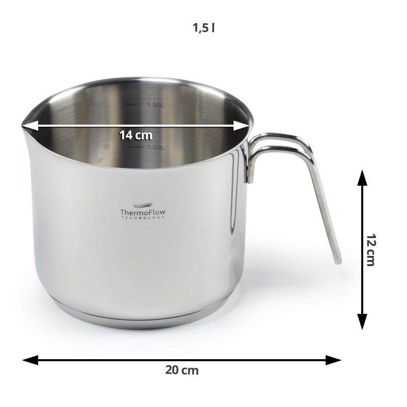 Čelično lonče Pour&Cook prečnika 14cm i zapremine 1.5l, odlikuje neuništiv, nerđajući čelik 18/10 i 3-slojno dno, koje omogućava brzo, ravnomerno zagrevanje i kraće vreme kuvanja. Tehnologija ThermoFlow omogućava odličnu distribuciju toplote po celoj površini posude i na taj način obezbeđuje ravnomerno kuvanje. Za jednostavnije kuvanje, lonče ima mernu skalu u unutrasnjosti, a za lakše odlivanje zaobljeni rub. Pogodno za sve površine za kuvanje, uključujući indukcionu. Lako se čisti i može se oprati i u mašini za pranje sudova.
