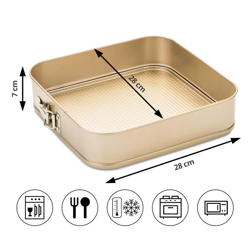 Kalup za tortu Rosmarino Baker Gold veličine 28 cm, izrađen od visokokvalitetnog karbonskog čelika i modernog izgleda u zlatnoj boji, biće vaš novi nezamenjivi pomoćnik za pečenje. Neprianjajući premaz sa efektom vrućeg kamena, daje jedinstven pristup pečenju. Hrana se tako neće lepiti za posudu i lako ćete je izvaditi bez upotrebe kuhinjskog pribora. Pekač ima odvojivi obod, koji se može lako ukloniti i sa zatvaračem od nerđajućeg čelika, koji sprečava izlivanje sadržaja tokom pečenja. Zahvaljujući svom sastavu od karbonskog čelika, koji je otporan na visoke temperature i do 240 °C, a pogodan je i za skladištenje u frižideru. Idealan za pečenje torti, kolača i drugih poslastica.