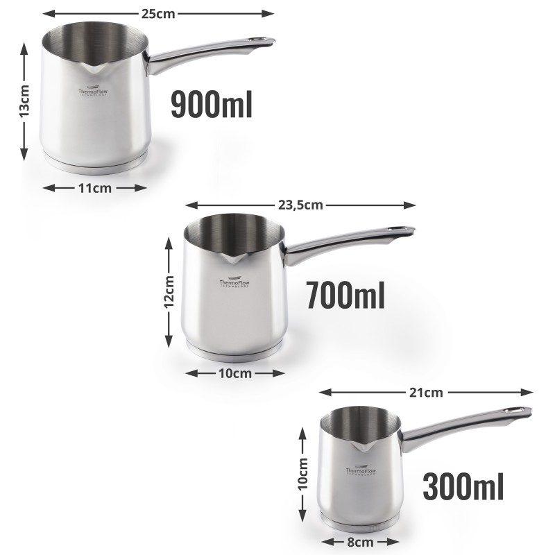 Čeličnu džezvu Pour&Cook prečnika 8 cm i zapremine 300 ml odlikuje neuništiv, nerđajući čelik 18/10 i 3-slojno dno, koje omogućava brzo, ravnomerno zagrevanje i kraće vreme kuvanja. Tehnologija ThermoFlow omogućava odličnu distribuciju toplote po celoj površini posude i na taj način obezbeđuje ravnomerno kuvanje. Pogodna za sve površine za kuvanje, uključujući indukcionu. Lako se čisti i može se oprati i u mašini za pranje sudova.