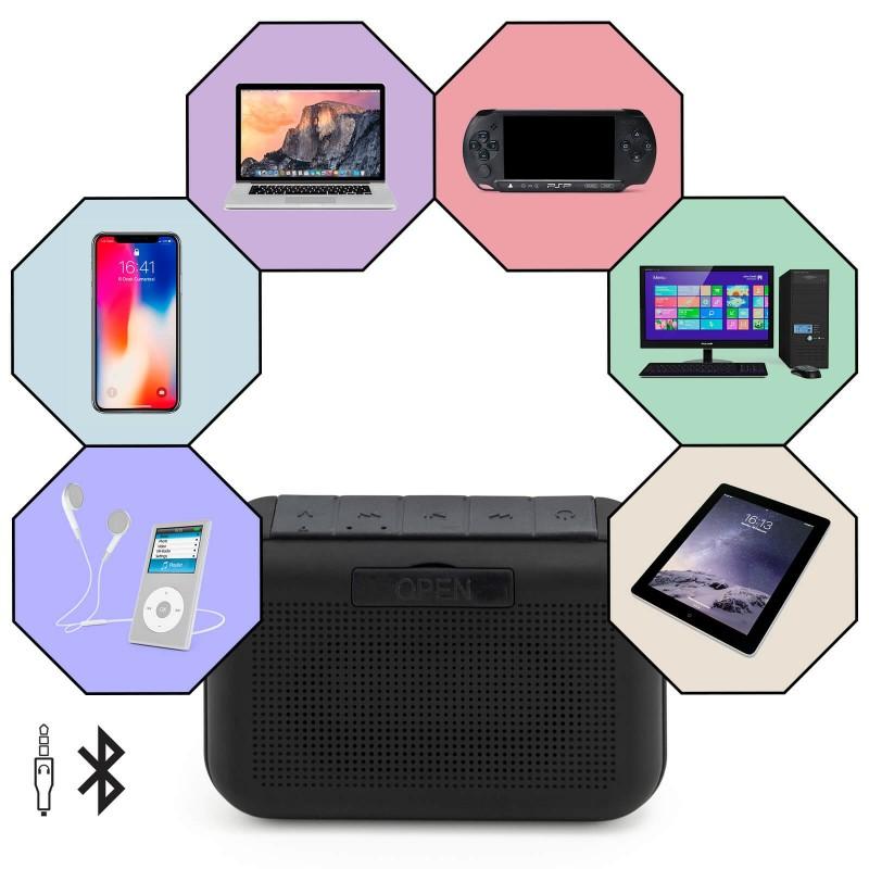 Prenosni Bluetooth zvučnik Blacksmith nudi sjajno bežično audio iskustvo slušanja muzike. Da biste reprodukovali muziku, lako se možete povezati preko Bluetooth-a, priključenog audio kabla za povezivanje ili USB-mikro kabla ili pomoću MicroSD kartice. Zvučnik ima ugrađeni mikrofon za mogućnost handsfree poziva preko Bluetooth-a. Baterija jačine 1200 mAh, koja omogućava reprodukciju muzike do 8 sati, obezbediće izvanredne performanse. Zvučnik je kompatibilan sa svim uređajima koji podržavaju Bluetooth tehnologiju, pomoću kojih svoj mobilni telefon ili tablet možete napuniti i putem USB mikro kabla. Zvučnik je mali i lagan, samo ga ponesite sa sobom i uživajte u muzici gde god da se nalazite.