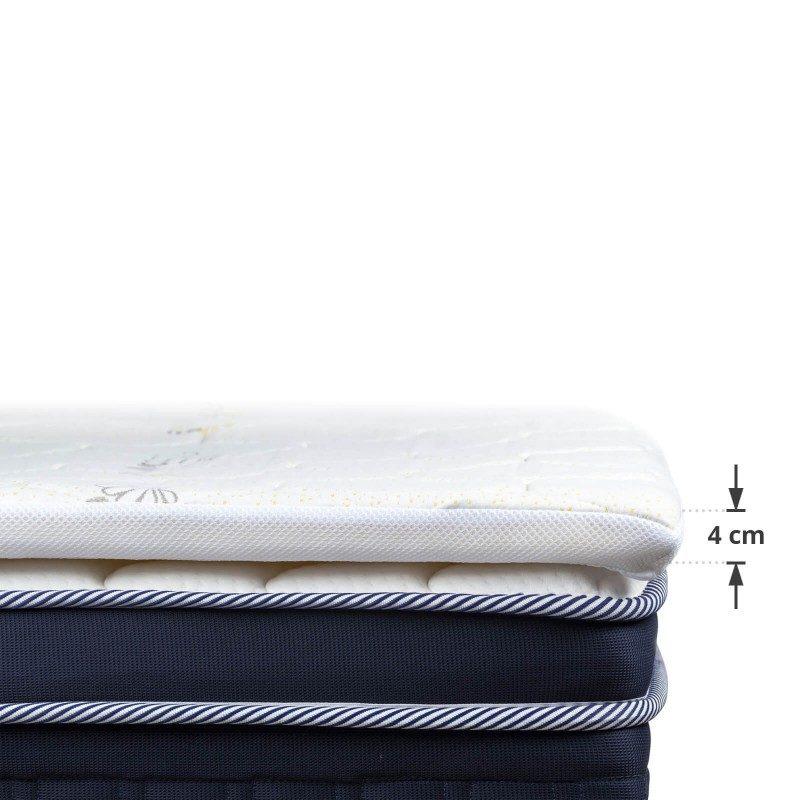 Naddušek/prostirka Kamilica 3+1 od hladno valjane pene, visok je 4cm i daje dodatnu mekoću i udobnost vašem dušeku, produžava mu vek trajanja i osigurava da se ujutro budite odmorni i naspavani. 3 cm visoko ortopedsko jezgro, od visokoelastične poliuretanske pene sa piramidalnom strukturom, osigurava adekvatnu potporu i potpuno se prilagođava telu. Za dodatnu udobnost, u navlaku je dodat 1 cm memorijske pene, koja se potpuno prilagođava obliku i težini tela. Navlaka se skida i periva je na 30 °C.