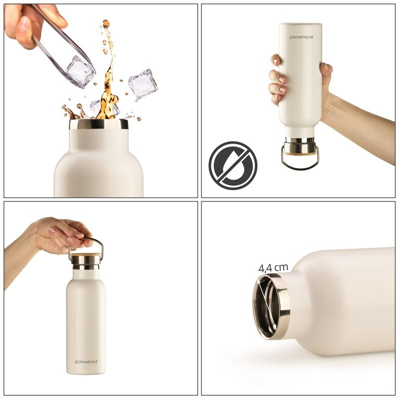 Vakuumska termos boca, od nerđajućeg čelika, nema nikakav miris ili ukus prilikom korišćenja. Ima dvostruko izolovan zid, tako da piće ostaje hladno 24 h i toplo 12 h. Moderno dizajniran termos, ima specijalni premaz za bolje prianjanje ruci. Većoj elegancija doprinosi poklopac od bambusa. Bela boja, zapremine 500 ml.