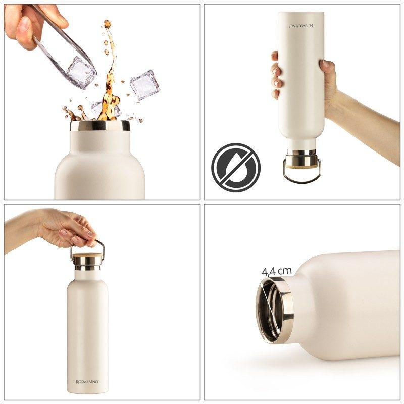 Vakuumska termos boca, od nerđajućeg čelika, nema nikakav miris ili ukus prilikom korišćenja. Ima dvostruko izolovan zid, tako da piće ostaje hladno 24 h i toplo 12 h. Moderno dizajniran termos, ima specijalni premaz za bolje prianjanje ruci. Većoj elegancija doprinosi poklopac od bambusa. Bela boja, zapremine 750 ml.