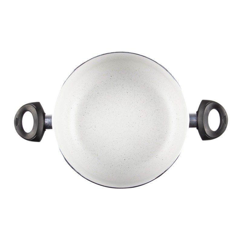 Šerpa Eco Cook prečnika 28 cm, sa nelepljivim glatkim mineralnim premazom, pruža prirodan način kuvanja, sa vrlo malo masnoće. Hrana na taj način zadržava  sve vitamine i minerale, koji su našem telu potrebni za zdrav način života. Pogodna za sve površine za kuvanje, uključujući indukcionu. Lako se čisti i može se oprati i u mašini za pranje sudova. Sve posude iz linije Eco Cook temelje se na višeslojnom sastavu, čime je zagarantovan dug vek trajanja i visok stepen otpornosti i izdržljivosti.