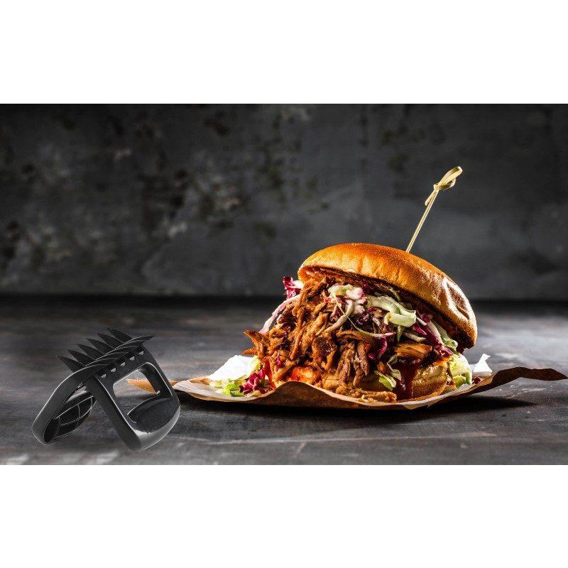 Nema više uvrnutih viljuški i napornog rezanja mesa! Set od dva plastična dodatka, omogućava vam da u samo nekoliko sekundi, usitnite različite vrste mesa, poput piletine i govedine, pa je upotreba viljuški ili prstiju stvar prošlosti. Zahvaljujući obliku i oštrini, meso će se savršeno strugati na manje komade, bez ikakvih problema. Dodatak možete koristiti i kao držač za meso, kao pomoćno sredstvo za prenošenje namirnica kako se ne biste opekli. Set je izrađen od visokokvalitetne i izdržljive plastike, otporne na udarce i oštećenja. Dovoljno velik prostor u delu rukohvata, pruža vam ugodno i lako rukovanje. Zbog svoje male veličine set je idealan za izlet ili kampovanje.