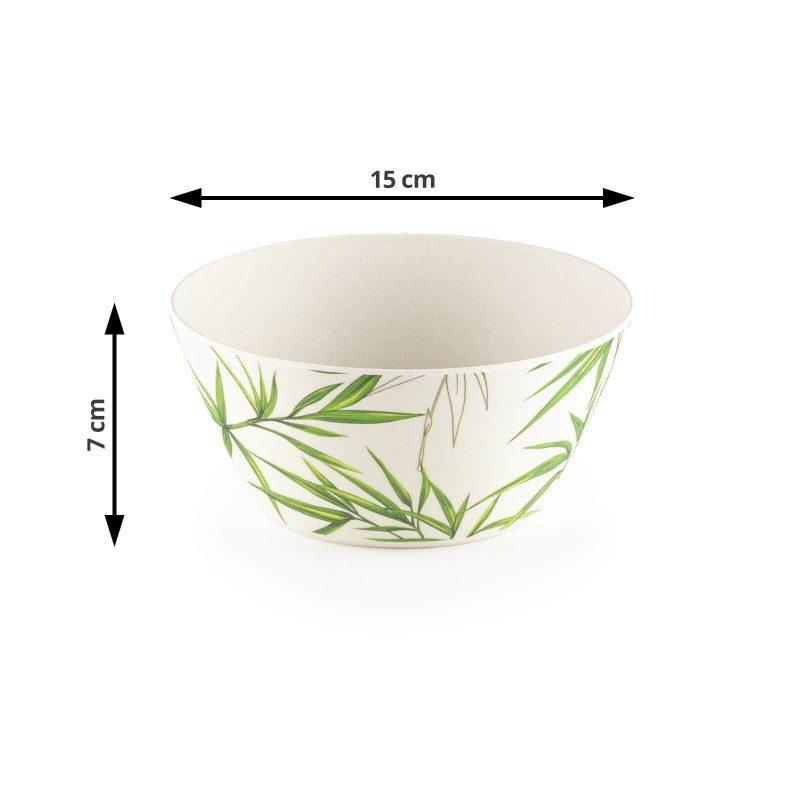 Prestanite da koristite ekološki štetnu plastiku i naučite o prirodnim materijalima budućnosti! Primeren za posluživanje salata, voća, grickalica, supa i testenina, set od bambusa je najbolja alternativa plastičnim posudama, jer je izrađen od prirodnih bambusovih vlakana, koja su u potpunosti biorazgradiva i ekološki prihvatljiva. Mogu se poslužiti hladna ili topla jela, jer podnose 2 sata izloženosti vrlo niskim ili vrlo visokim temperaturama, od -20 do 70 °C. Set ne sadrži petrohemijske materije i BPA, ne ostavlja ukus na hrani, izuzetno je čvrst, ali istovremeno lak za nošenje. U setu se nalaze velika viljuška i kašika, za jednostavno mešanje i posluživanje hrane. Set se jednostavno pere pod tekućom vodom ili u sudomašini.