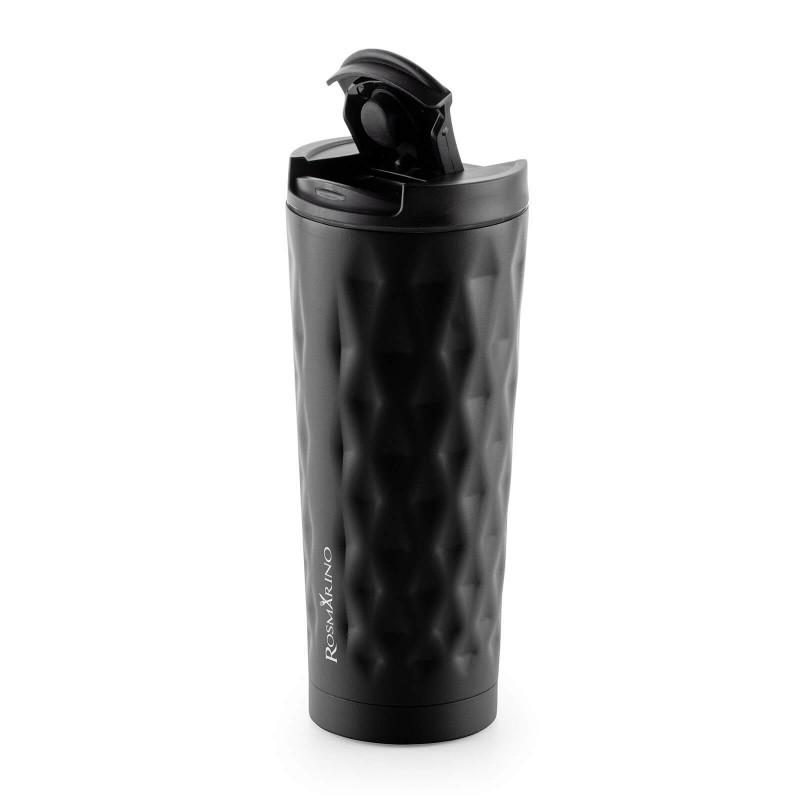 """Termos za kafu ili čaj Rosmarino od kvalitetnog nerđajućeg čelika sa dvostrukim izolacionim zidom koji održava napitak hladnim do 8 sati i toplim do 4 sata. Termos za višestruku upotrebu je najbolja alternativa termosu za jednokratnu upotrebu, ne sadrži petrohemikalije i BPA, ne stvara veštački ukus piću. Termos zapremine 500 ml savršene je veličine za vaš najdraži napitak """"to go"""": kafu, čaj i slično. Zahvaljujući poklopcu termos 100% zadržava tečnost. Pogodan za pretežno sve automobilske držače za čaše."""