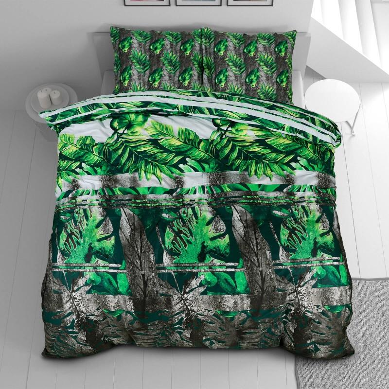 Vreme je za potpuno uživanje u modernim pamučnim posteljinama! Posteljina Svilanit Jungle Leaves od mekanog pamučnog satena, koji je satkan od visokokvalitetnog, tankog tkanja. Posteljina od satena je prekrasan ukras vaše spavaće sobe, a u isto vrijeme odličan izbor za udoban i ugodan san. Neka vas oduševi moderan dizajn sa uzorkom listova. Posteljina je periva na 40 °C.