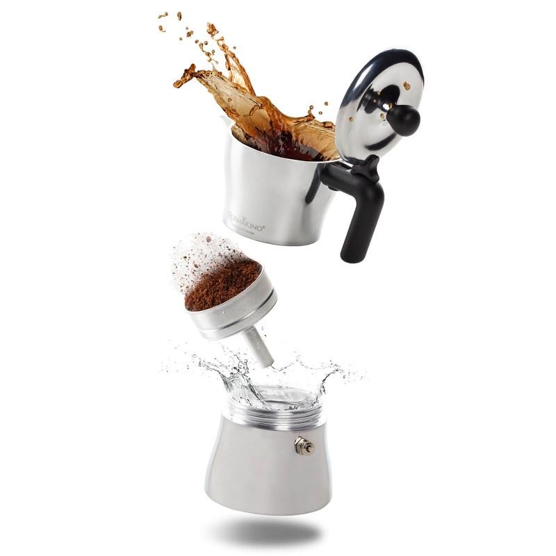 Kuvalo Rosmarino zapremnine 150 ml je savršeno za pripremu od 1 do 3 šoljice kafe. Izrađeno je od aluminijuma i presvučeno slojem od nerđajućeg čelika pogodno je i za upotrebu na indukciji. Paket uključuje i dodatak za pripremu jedne šoljice kafe. Minimalističan dizajn poznatog industrijskog dizajnera Luce Trazzija sa ergonomskom ručkom od SoftTouch materijala garantuje još jednostavniju pripremu kafe. Nakon upotrebe kuvalo jednostavno isperite pod tekućom vodom.