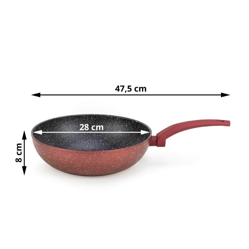 Vok Lava Stone Grape prečnika 28 cm uključena je u asortiman vrhunskih jela sa inovativnim i tehnološki potpunim mineralnim premazom. Nelepljivi mineralni premaz u obliku vulkanskih kamenaca omogućava prirodan način kuvanja i pečenja sa minimalnom masnoćom. Hrana zadržava sve hranljive sastojke i vitamine potrebne našem telu za zdrav život. Vok je pogodan za sve površine za kuvanje i indukciju. Jednostavno ga je održavati i prati u mašini za pranje sudova, zahvaljujući grubom premazu i na spoljašnjoj strani posuđa. Sva jela iz linije Lava Stone Grape odlikuje se višeslojnim sastavom koji garantuje dug radni vek i visok stepen otpornosti i trajnosti posuđa.