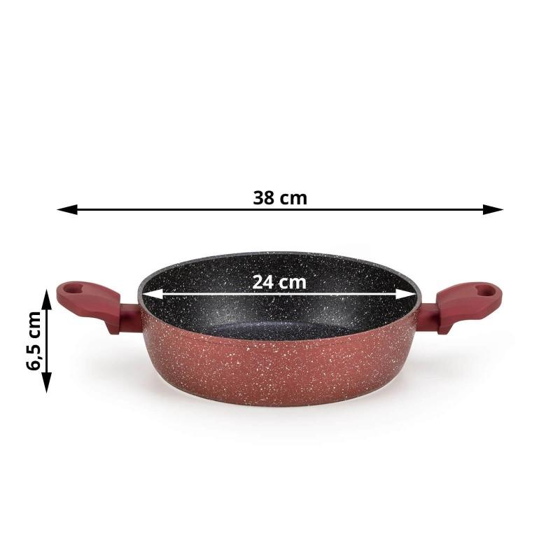 Tiganj Lava Stone Grape prečnika 24 cm uključen je u asortiman premium posuđa sa inovativnim i tehnološki dovršenim mineralnim premazom. Nelepljivi mineralni premaz u obliku vulkanskih kamenaca omogućava prirodan način kuvanja i pečenja sa minimalnom masnoćom. Hrana zadržava sve hranljive sastojke i vitamine potrebne našem telu za zdrav život. Tiganj je pogodan za sve površine za kuvanje i indukciju. Jednostavno ga je održavati i prati u mašini za pranje sudova, zahvaljujući grubom premazu i na spoljašnjoj strani posuđa. Sva jela iz linije Lava Stone Grape odlikuje se višeslojnim sastavom koji garantuje dug radni vek i visok stepen otpornosti i trajnosti posuđa.