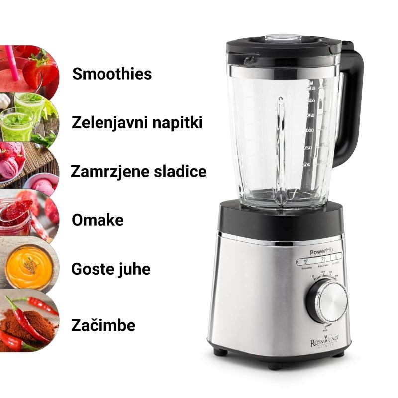 Blender koja će obaviti posao umesto vas. Rosmarino Infiniti Pover Mix je vrhunski blender, izuzetno moćan i brz aparat u vašoj kuhinji za sve vaše dnevne obroke, doručak, ručak, obroke koje trebate pripremiti brzo i do večere. 6 noževa od nerđajućeg čelika omogućavaju vam da pripremite razna pića od voća ili povrća, razne soseve ili čak drobljenje leda! Snaga motora od 1400 V, 3 unapred podešene funkcije i dodatna funkcija turbo pulsa zadovoljiće vaše potrebe za pripremom hrane različitih tekstura. U prostranoj staklenoj posudi zapremine 1500 ml sa mernom skalom uživaćete u bezbrižnoj pripremi obroka za celu porodicu. Takođe savršen uređaj za pripremu dečijih obroka. Minimalistički dizajn u crnoj i nerđajućem čeliku zadovoljiće sve ljubitelje elegancije u bilo kojoj modernoj kuhinji.