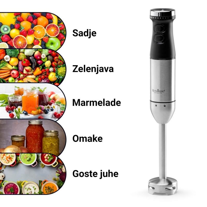 Štapni mikser Rosmarino Infinity je neophodan aparat za mešanje ili pasiranje različitih namirnica u kuhinji. Jednostavnim pritiskom dugmeta ćete postići savršenu strukturu čorbi, umaka i ostalih sastojaka za vaše obroke. Uz 2 brzine možete pripremati 2 različite teksture pasiranja: potpuno glatku ili grublju teksturu. Štapni mikser je idealan za pripremu dečije hrane. Ergonomski oblik i minimalistički dizajn u crnoj i inox boji zadovoljiće i sve ljubitelje elegancije u kuhinji. Sa uključenom posudom za mešanje zapremnine 700 ml i mernom skalom za jednostavno merenje željenih sastojaka potrebnih za vaša kulinarske veštine.