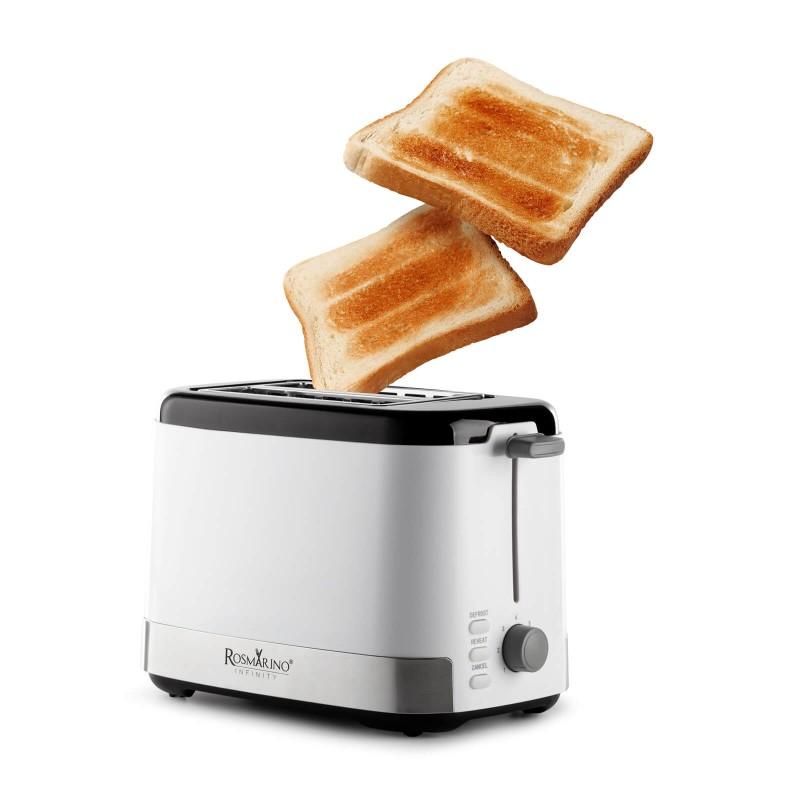 Toster Rosmarino Infinity jednostavan je za upotrebu i savršeno tostira hleb ili tost za svaki obrok. Idealan je za razno tostiranje, gdje svaki član porodice može pripremiti tost po svom ukusu. Možete birati između 7 različitih stepeni tostiranja. Dodatne 3 funkcije odmrzavanja, grejanja i prekida savršene su za moderan i brz tempo života. Minimalistički dizajn u beloj i inox boji s crnim detaljima završne obrade zadovoljiće sve ljubitelje kuvanja. Zahvaljujući uklonjivoj ladici za mrvice uređaj je jednostavan i za čišćenje.