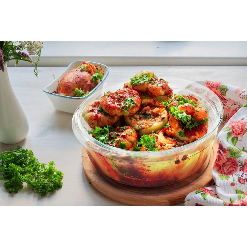 Rosmarino Bake & Go sa poklopcem (2100 ml) modernog izgleda biće vaš novi neizostavni dodatak za pečenje i kuvanje. Zbog svog sastava borosilikatnog stakla, okrugla posuda za pečenje je takođe otporna na visoke temperature u rerni ili mikrotalasnoj, pogodna za čuvanje u frižideru i mašini za pranje posuđa. Idealan dodatak za pripremu lazanja, gratinirane testenine, mesa, ribe, pita za pečenje, povrća ili drugih raznovrsnih jela.