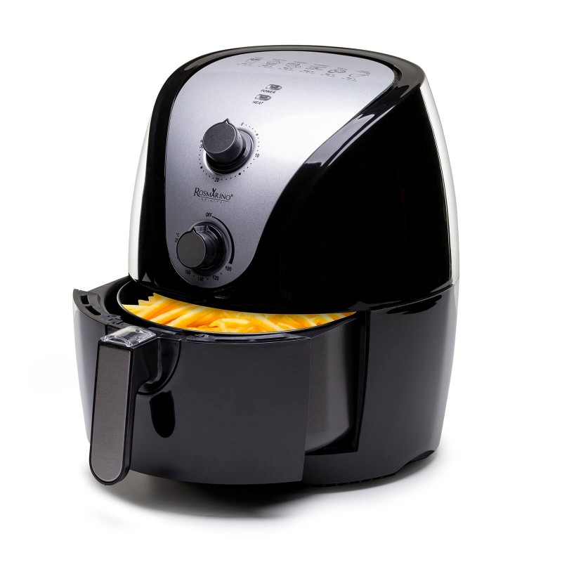 """Recite """"stop"""" ulju i uživajte u ukusnim jelima bez masti i ulja! Friteza Rosmarino Infiniti obradovaće vas zdravijim revolucionarnim načinom prženja sastojaka na vrućem vazduhu. Obroci tako imaju manje kalorija i ulja, a zadržavaju ukus i teksturu pržene hrane. Ova vrsta tehnologije omogućava vam da pripremite omiljene pomfrit, slatki krompir, riblje štapiće, pržene batake i sve pržene poslastice sa čak 75% manje masti. Najlakši put do omiljene hrane bez kajanja i manje brojanja kalorija."""