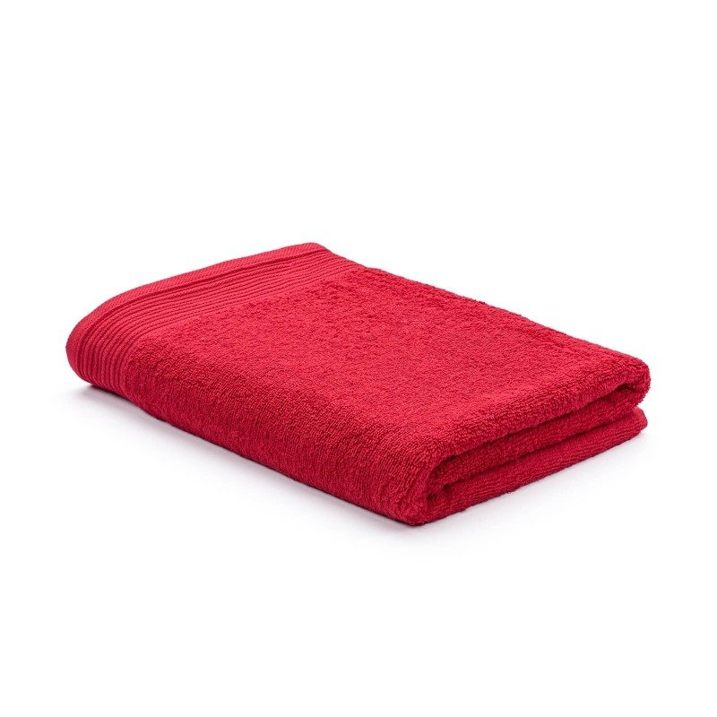Jednobojni peškir Svilanit Prima je izrađen od visokokvalitetnog i mekog pamuka. Gusto tkani pamuk za negu kože. Crvena boja.