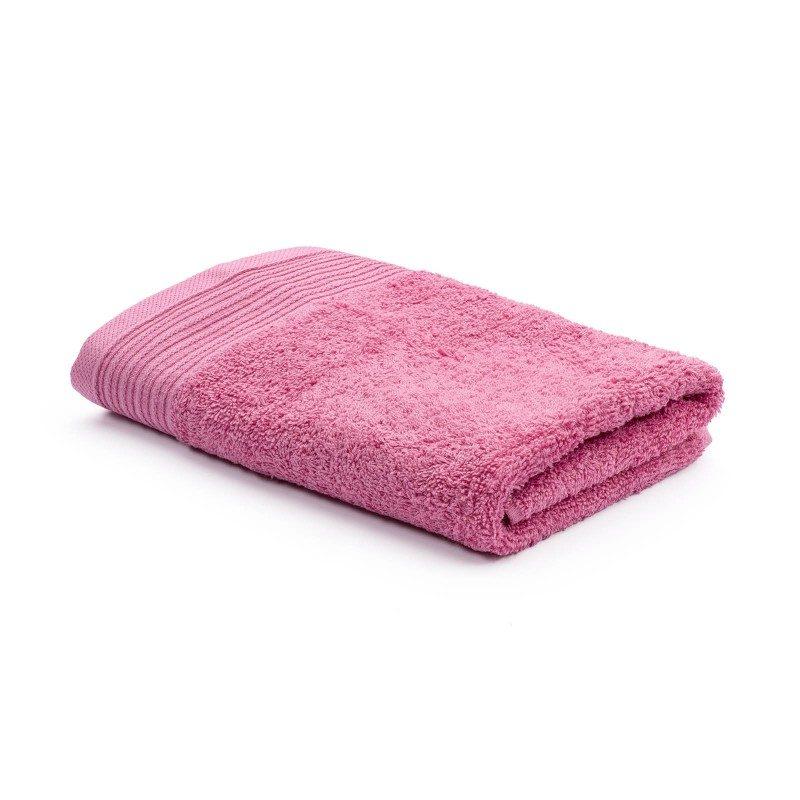 Jednobojni peškir Svilanit Prima je izrađen od visokokvalitetnog i mekog pamuka. Gusto tkani pamuk za negu kože. Roze boja.