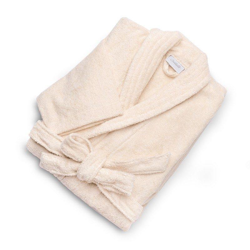 Bade mantil izrađen od 100% pamuka. Zbog klasičnog izgleda odgovara i ženama i muškarcima. Bež boja.