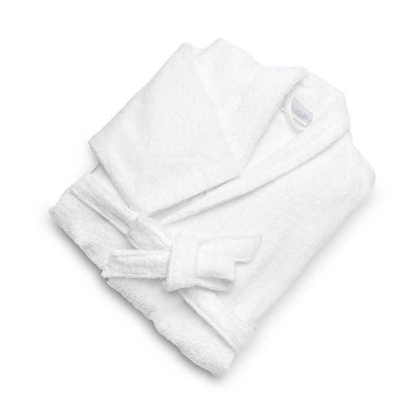 Bade mantil izrađen od 100% pamuka. Zbog klasičnog izgleda odgovara i ženama i muškarcima. Bela boja.