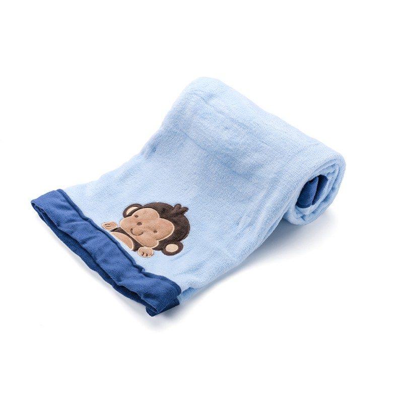 Mekano dečije ćebence je izrađeno od kvalitetnih mikrovlakana specijalno za dečiji krevetić, kolica ili za putovanja. Sa motivom majmučeta.
