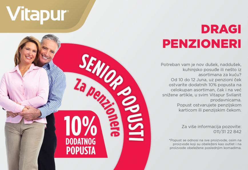 Senior Popusti - za penzionere, DODATNIH 10% popusta